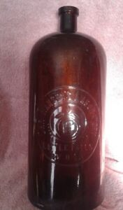 "Chr Hansen's 14"" Laboratory Amber Bottle of Little Falls NY USA"