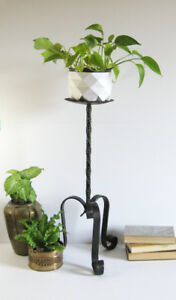 "Vintage Black Metal Pillar Candle Holder 24"" Tall Plant Stand"