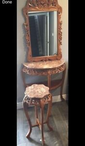 Oriental side tables and Mirror