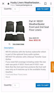 F150 Husky Weatherbeater Floor Liners *Front and rears