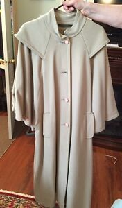 Reduced - Thunder Bay Fashion Beige Wool Cape Style Coat