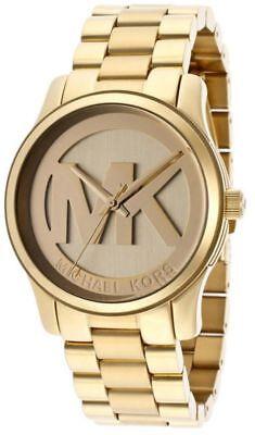 Michael Kors Women's Runway Gold Tone Steel MK Logo 38mm Watch MK5786