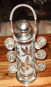 Vintage Pump Decanter with affixed 'Caddy' & 6 shot glasses Strathcona County Edmonton Area image 1