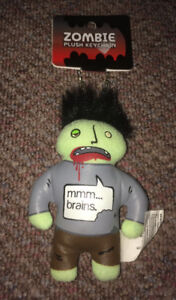 "Zombie Plush Keychain ""MMM...Brains"""