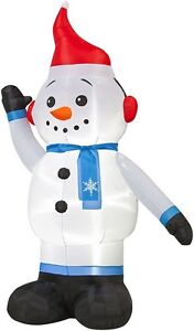 7-Foot Gemmy Inflatable Snowman With Earmuffs Outdoor Christmas Yard  Decoration