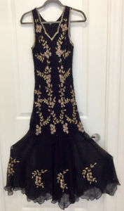 BLING BLING BLACK FORMAL DRESS with SHAWL