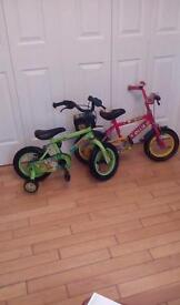 Two. Bikes for sale. One. Raleigh and one. Apollo