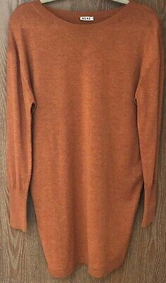 Acne Studios Sweater Asymmetrical Oversize Merino Wool in Rust Orange Pumpkin XS