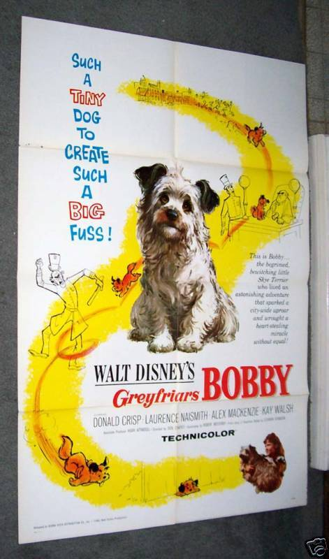 GREYFRIARS BOBBY original 1961 movie poster SKYE TERRIER one sheet DISNEY 27X41