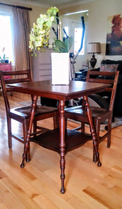 Solid wood antique table and chair set just refinished