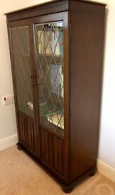 Lockable bookcase cabinet, dark stained wood