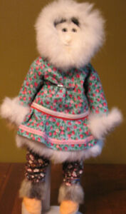 "14"" Inuit Heritage Female Doll  Cotton, Fur &,Caribou Clothing"