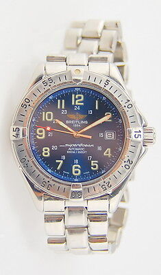 MENS STAINLESS STEEL BREITLING SUPER OCEAN DATE 1000M AUTOMATIC 40MM WRIST WATCH