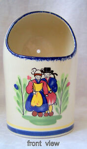Domed Ceramic vase, wall/free stand, souvenir of France, unique