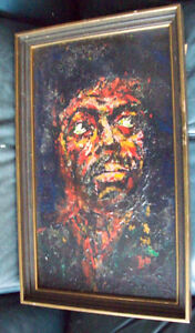 Original Oil Painting Jimi Hendrix 1960's