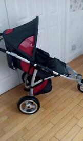 (. Quinny. S . X. Red and black. Three wheel. Stroller )