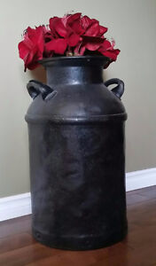 Vintage Milk Can with Decorative Flowers