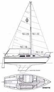 Catalina 25 Hull #195 Swing Keel Standard Rig Dinette