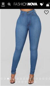 Fashion Nova-Classic High Waist Skinny Jeans - Medium Blue Wash