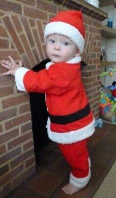 UK Baby Boy Boy Christmas Xmas Santa FIRST Costume Suit Outfit Hat 6 12 18 24 m](Baby Boy Christmas Costume)