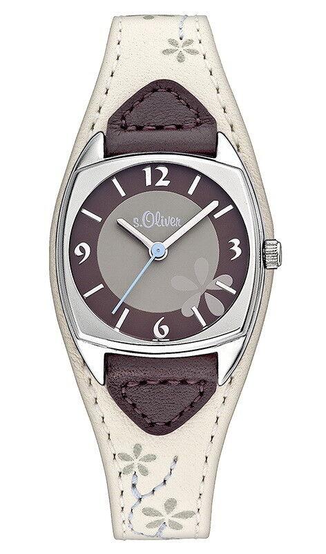s.Oliver Damen Leder Armbanduhr Grau Beige Blüten Unterlegband SO-2135-LQ