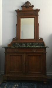Antique Victorian Walnut Hall Dresser with Mirror and marble Top
