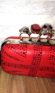Jewelled Brass Knuckle Red Skull Metal Clutch Purse NWT $15