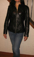 MOSSIMO women black woven design leather jacket coat sz S small
