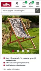 Wilko Teak Leopard Print Deckchairs BRAND NEW