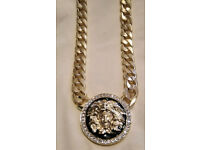 9ct Gold Plated - 16mm Cuban Chain Versace Pendant