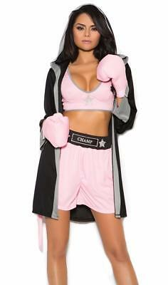 Female Boxer Costumes (Prizefighter Boxer Costume Top Shorts Hooded Robe Boxing Gloves Champ)