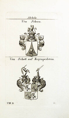 1824 2 Wappen Von Schorn Schott auf Regenpeilstein Kupferstich Tyroff