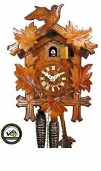 coo-coo/cuckoo clock black forest mechanical 1-day bird leaves german wood new