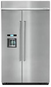 Kitchenaid KBSD608ESS 48-Inch Width Built-In Side by Side Refrigerator With 29.5 cu. ft With Water And Ice Dispenser