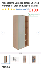 Grey 1 door Wardrobe with shelves only £100. RBW Clearance Outlet Leic