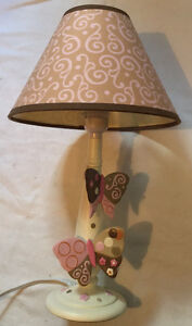 """16"""" Pink & Brown Cream Butterfly Night Stand Desk Lamp"""