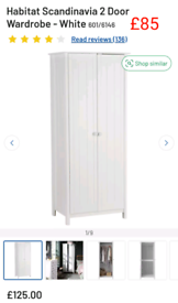 White 2 door Wardrobe Scandinavia only £85. RBW Clearance Outlet Leice