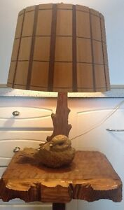 Vintage Hand-Carved Wooden Folk Artist LAMP