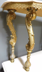 Marble Top Gold Ornate Display Couch / Wall table London Ontario image 2