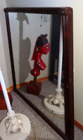 Large Antique Mirror, Heavy Solid Wood Mirror