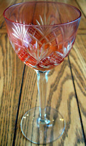 Bohemian Crystal Cut To Clear Pink Glass Wine Goblet