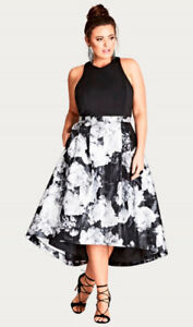 Size 18, City Chic Black & Floral Print Dress [Plus-Size]