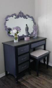 Refinished Vanity, Mirror and Bench