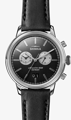 Shinola Mens Watch Chronograph Bedrock 42mm Black Dial & Black Band - New