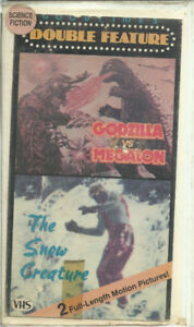 vhs Godzilla vs Megalon AND The Snow Creature Double Feature use