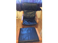 Ikea poang chair and matching footrest