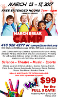 **MARCH BREAK CAMP REGISTRATION JUST $99 FOR ENTIRE WEEK**