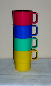 4 colorful Stackable Cups .. Not breakable:Clean:SmokeFree