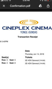2 tickets to the incredibles 2 4DX Thurs June 14th 7:40 pm