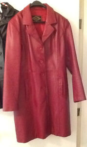 RED LEATHER COAT & 2 BLACK LEATHER COATS excellent condition  Re